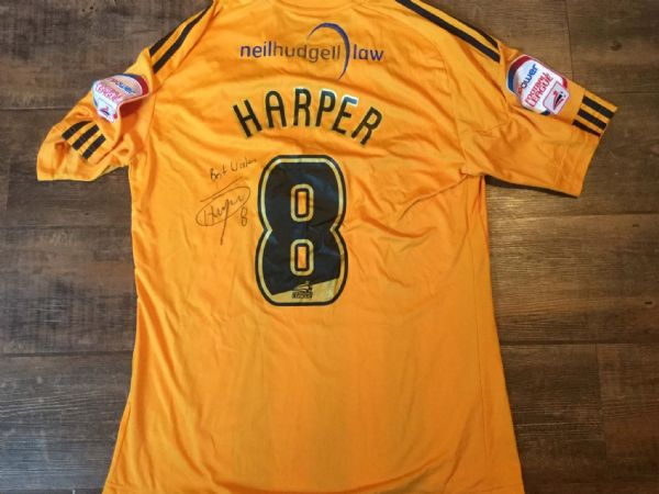 2010 2011 Hull City Harper Match Worn Marie Curie Home Football Shirt